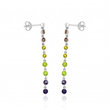 9ct White Gold Diamond & semi-precious Gemstone Drop Earrings