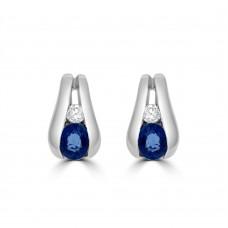 9ct White Gold Sapphire & Diamond Tapered Stud Earrings