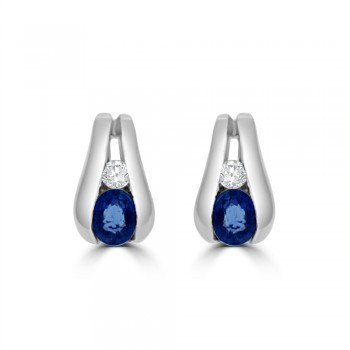 9ct White Gold Sapphire & Diamond Tapered Stud Earrings