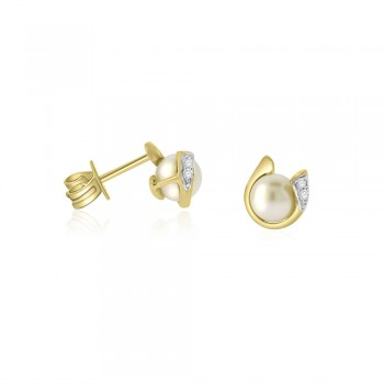 9ct Gold Pearl & Diamond Stud Earrings