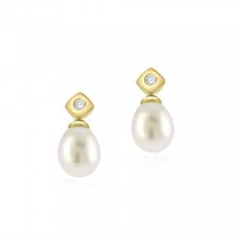 9ct Gold Diamond stud & Pearl Drop Earrings