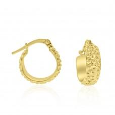 9ct Gold Beaded Creole Hoop Earrings