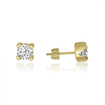 9ct Gold Cubic Zirconia Solitaire Stud Earrings