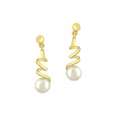 9ct Gold Pearl Spiral Drop Earrings