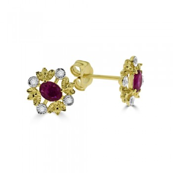 9ct Gold Ruby & Diamond Leaf stud Earrings