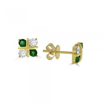 9ct Gold Emerald & Diamond 4-stone Stud Earrings