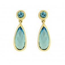 9ct Gold Blue Topaz Drop Earrings
