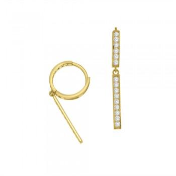 9ct Gold Cubic Zirconia Huggy Drop Earrings
