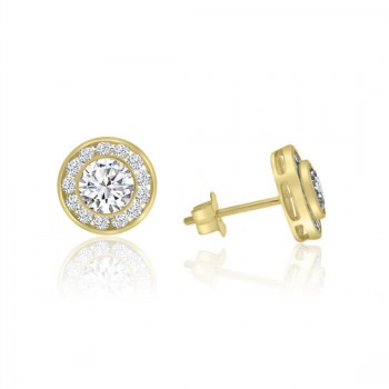 9ct Gold Cubic Zirconia Rubover Halo Stud Earrings