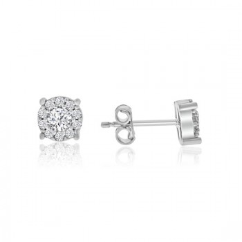 9ct White Gold Cubic Zirconia Illusion cluster Stud Earrings