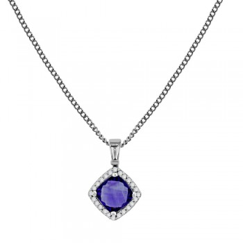 18ct White Gold Amethyst & Diamond Cushion Halo Pendant