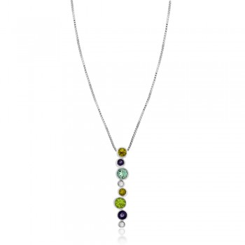 9ct White Gold Diamond & Multi-colour Gemstone Pendant Chain