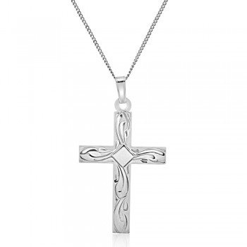 9ct White Gold Engraved Cross Pendant