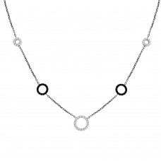 9ct White Gold Black & White Cubiz Zirconia Pendant Chain