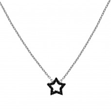 9ct White Gold Black & White Cubic Zirconia Star Pendant Chain