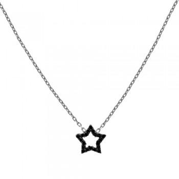 9ct White Gold Black & White Cubic Zirconia Star Pendant Chain