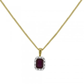 9ct Gold Emerald cut Ruby Diamond Halo Pendant