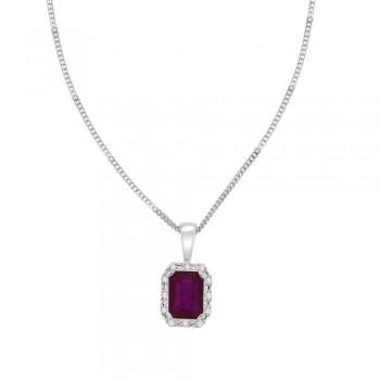 9ct White Gold Emerald cut Ruby Diamond Halo Pendant