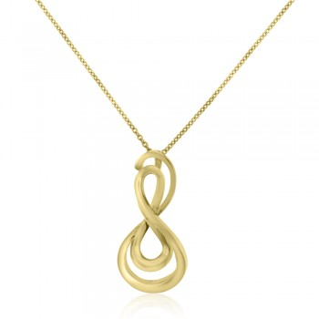 9ct Gold Abstract Infinity Style Pendant Chain