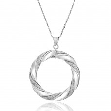 9ct White Gold Round Twist Pendant Chain