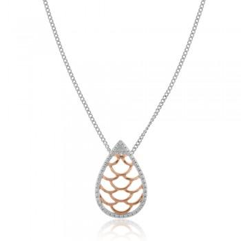 9ct White & Rose Gold Filigree Pendant
