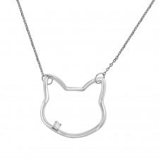 9ct White Gold Diamond Cat Pendant Chain
