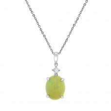 9ct White Gold Opal & Diamond Pendant Chain