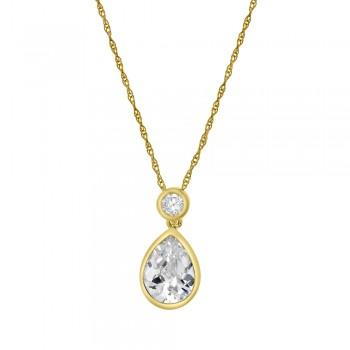 9ct Gold Pear & Brilliant Cubic Zirconia Pendant Chain