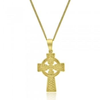 9ct Gold Engraved Celtic Cross Pendant