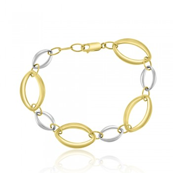 9ct Yellow & White Gold Marquise Link Bracelet