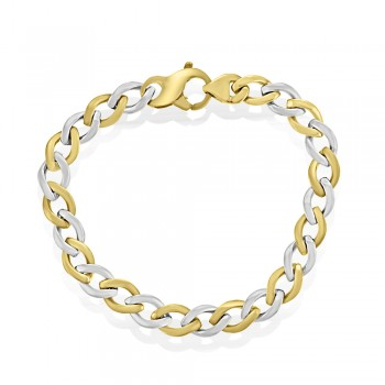 9ct Yellow & White Gold Flat Curb Braclet