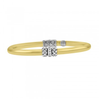 18ct Yellow Gold and Silver Gemoro Bangle