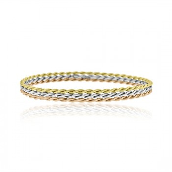 9ct Yellow White & Rose Gold Slave Twist Bangle