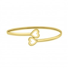 9ct Yellow Gold Torc Heart Bangle