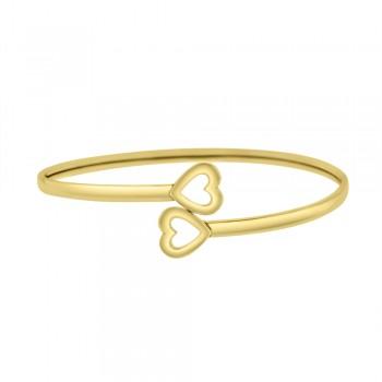 9ct Yellow Gold Torc Heart Bangle