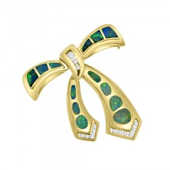 14ct Gold Opal & Diamond Bow Brooch