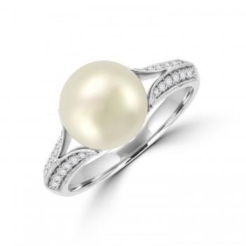 9ct White Gold Cultured Pearl & Split Diamond Shoulder Ring