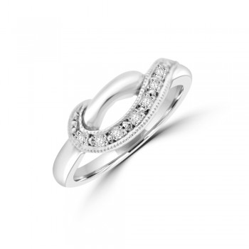 9ct White Gold Diamond Crossover Dress Ring