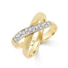 9ct Gold Diamond Double Band Crossover Ring