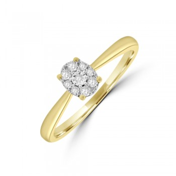 9ct Gold Oval Illusion Solitaire Diamond Ring