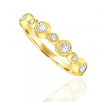 9ct Yellow Gold Cubic Zirconia Bubble Ring