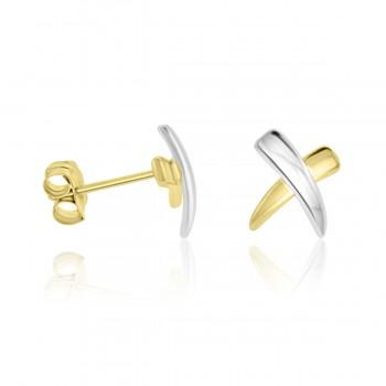 9ct Two Tone Gold Kiss Stud Earrings