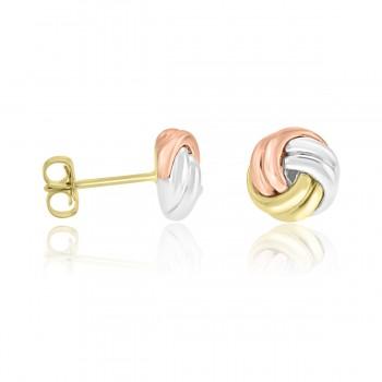 9ct Three Tone Gold Knot Stud Earrings