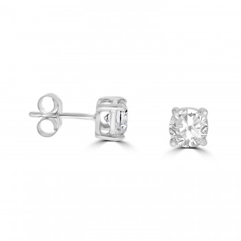 9ct White Gold Solitaire Cubic Zirconia Rubover Stud Earrings