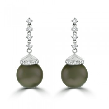 18ct White Gold Tahitian Pearl & Diamond Drop Earrings