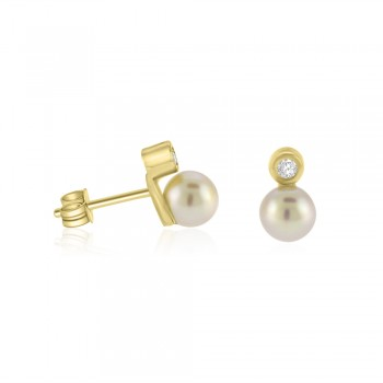9ct Gold Cubic Zirconia & Freshwater Pearl Stud Earrings