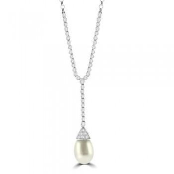 18ct White Gold 46-stone Diamond & Pearl Necklet