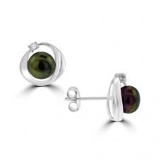 14ct White Freshwater Black Pear & Diamond Earrings