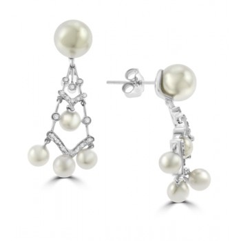 18ct White Gold Cultured Pearl & Diamond Chandelier Earrings