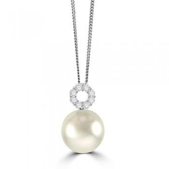 18ct White Gold South Sea Pear & Diamond Pendant Chain